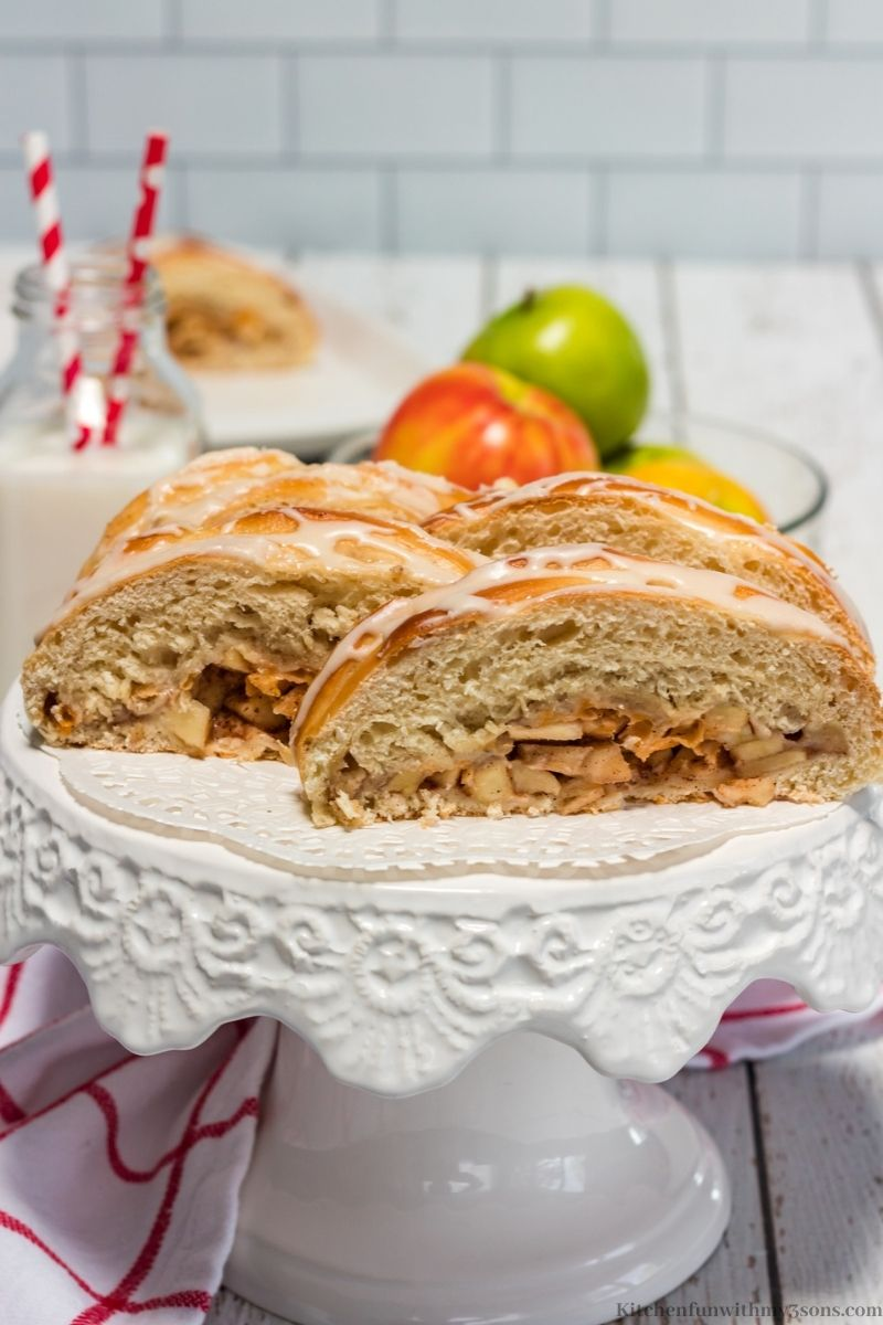 Amazing Moist Apple Bread Recipe on a serving mount and cut in slices.