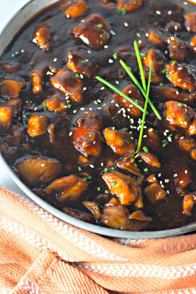 Bourbon Chicken Recipe with a light brown towel