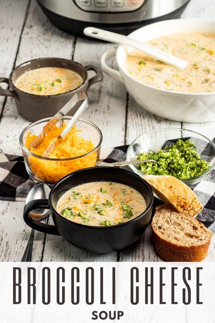 pinterest image for broccoli cheddar soup