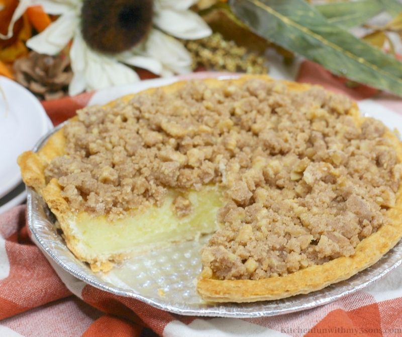 The whole Buttermilk Pie with Walnut in the pan.