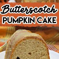 Butterscotch Pumpkin Cake with a yummy pumpkin spice glaze on top. Such a delicious Fall bundt cake recipe.