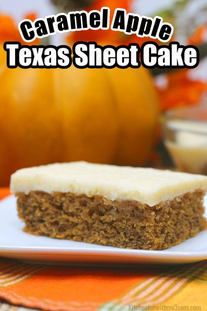 pinterest image for caramel apple Texas sheet cake