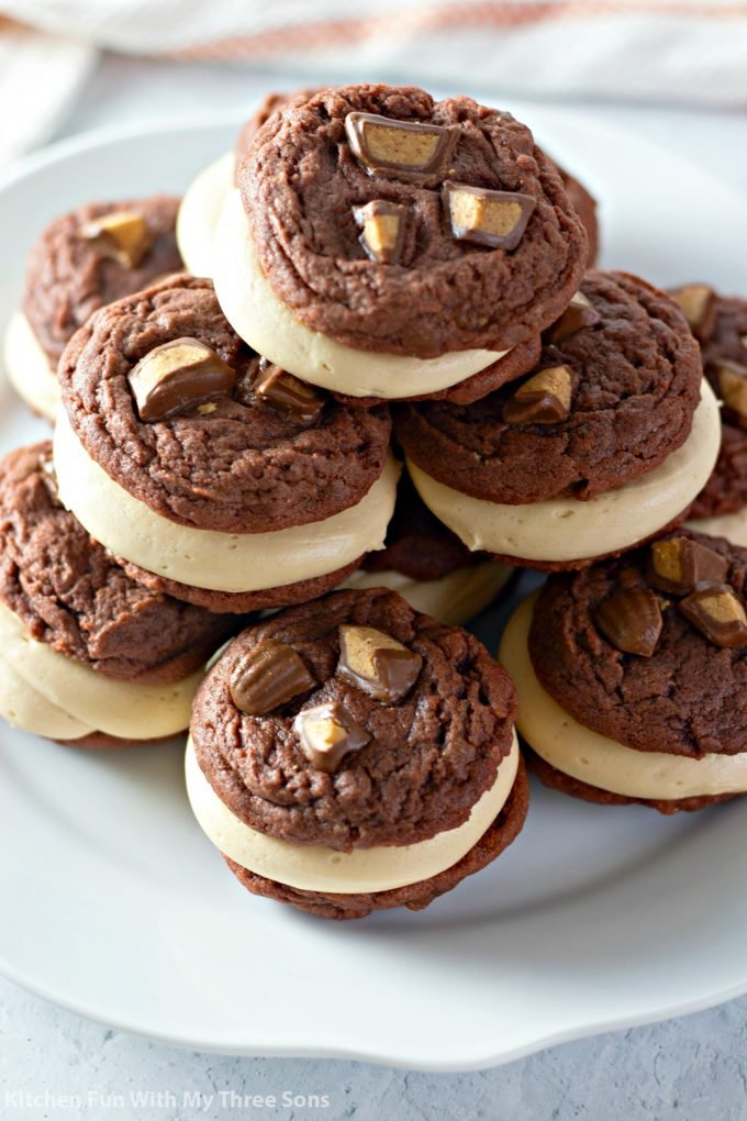 Chocolate Peanut Butter Cup Sandwich Cookies on a white plate