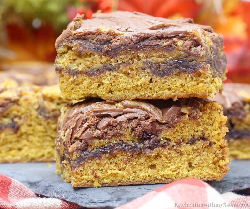 Chocolate Pumpkin Bars Recipe stacked on top of each other.
