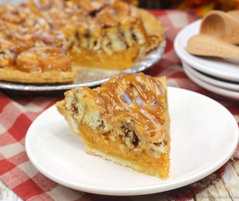 Cinnamon Roll Sweet Potato Pie Recipe on a serving plate.