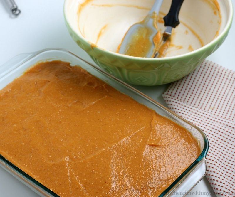 Your pumpkin layer evenly spread on top of the whipped layer.