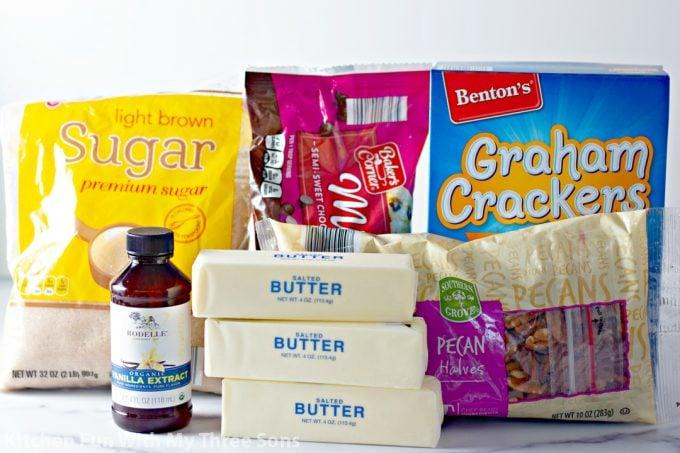 ingredients to make Graham Cracker Toffee