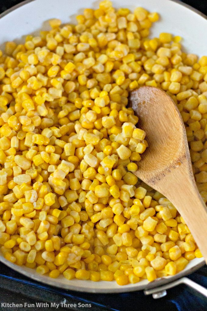cooking corn in a skillet