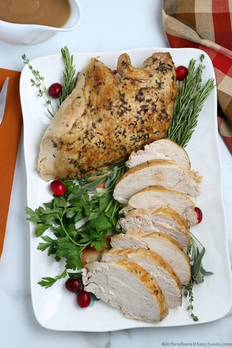 Instant Pot Turkey Breast on a serving tray.