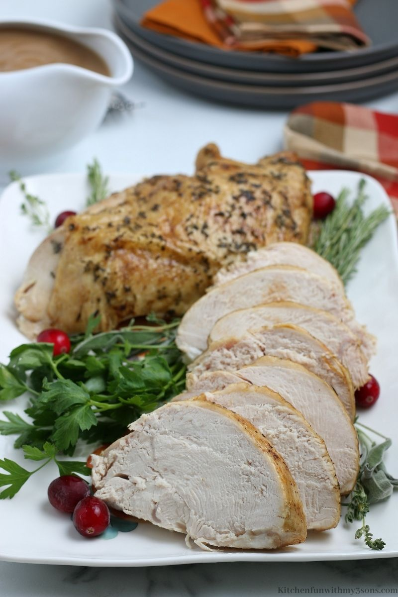 Instant Pot Turkey Breast sliced into serving pieces.