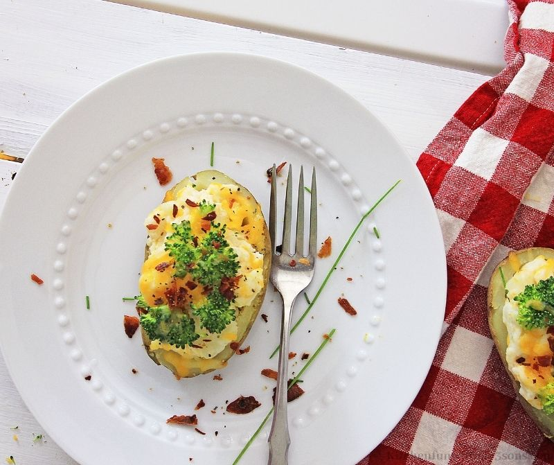 The Instant Pot Twice Baked Potatoes on a serving dish.
