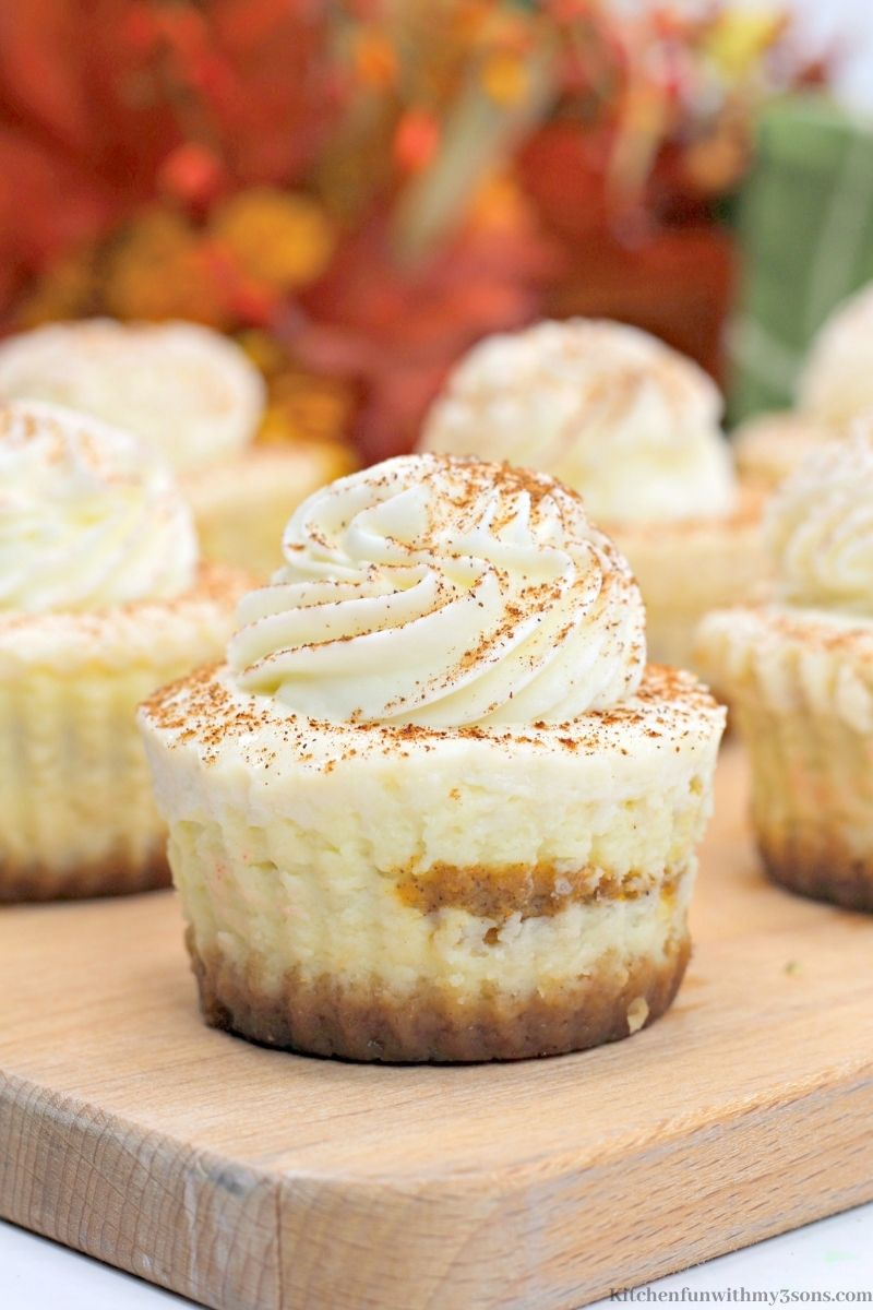 Close up of one of the Mini Pumpkin Swirl Cheesecakes.