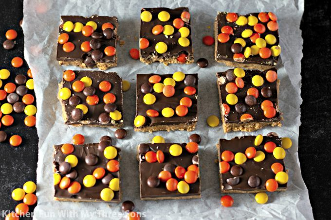 No Bake Reese's Peanut Butter Bars cut into squares