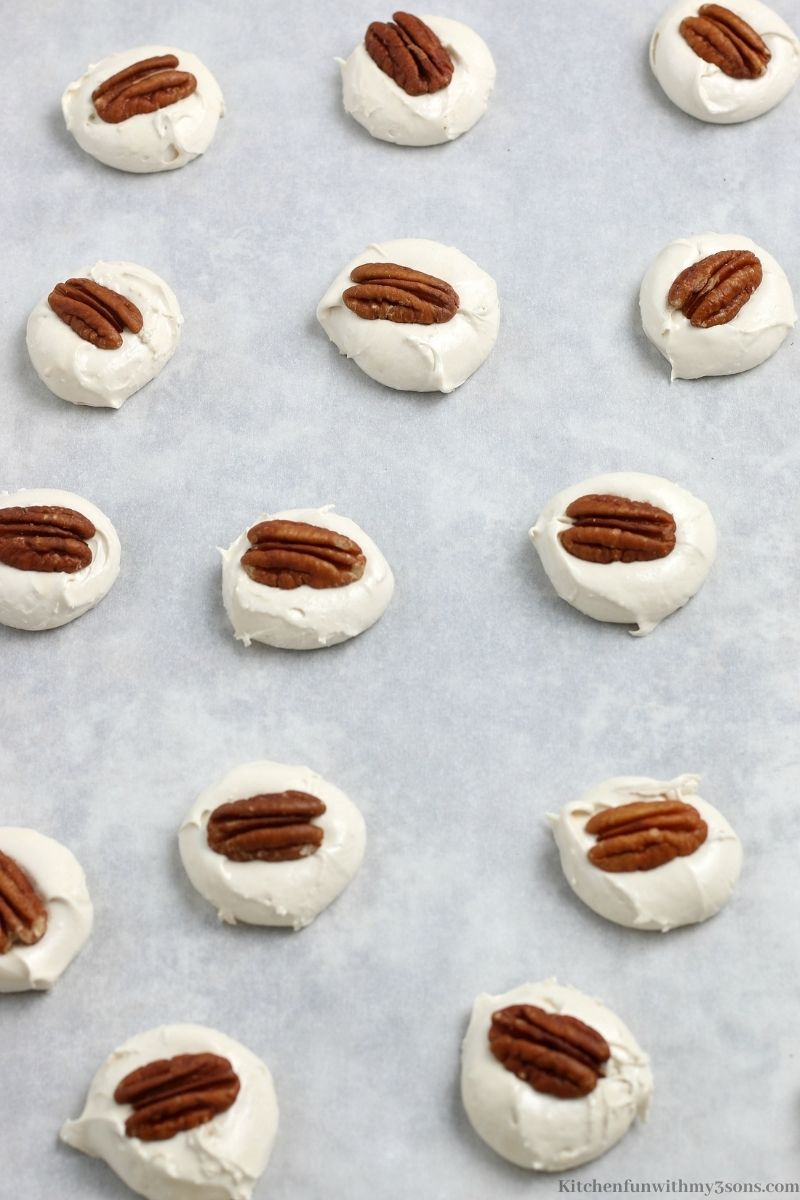 The pecans placed in the center of your candies.