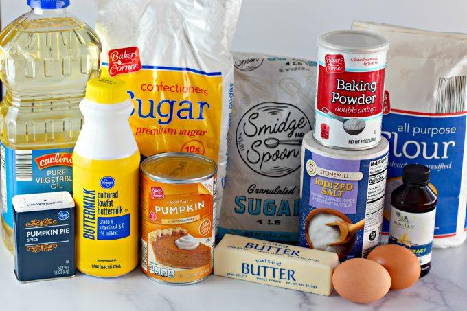 ingredients to make Pumpkin Spice Buttermilk Donuts