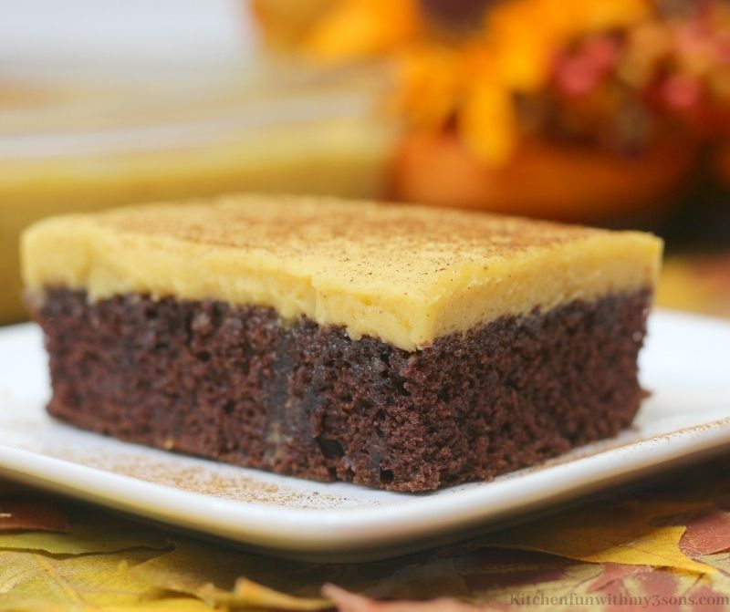 Pumpkin Chocolate Texas Sheet Cake Recipe on a plate on a table with leaves.