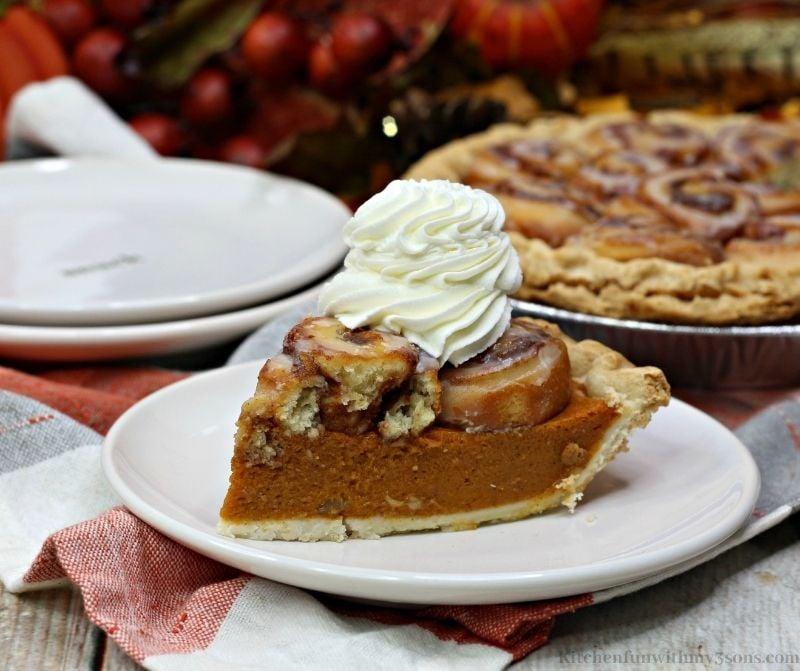 Pumpkin Cinnamon Roll Pie Recipe on a serving plate.