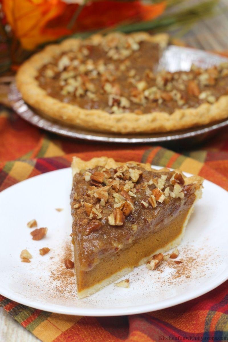 Pumpkin Pecan Pie Recipe slice on a serving plate.