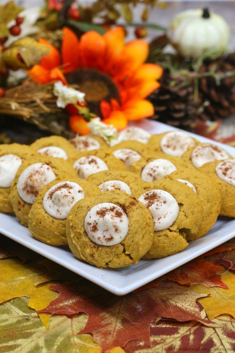 Pumpkin Thumbprint Cookies on a serving platter.