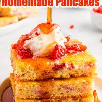 Sheet Pan Strawberries & Cream Homemade Pancakes