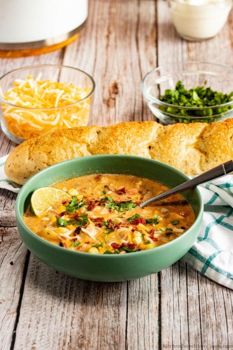 Southwest Chicken Corn Chowder Recipe in a bowl.