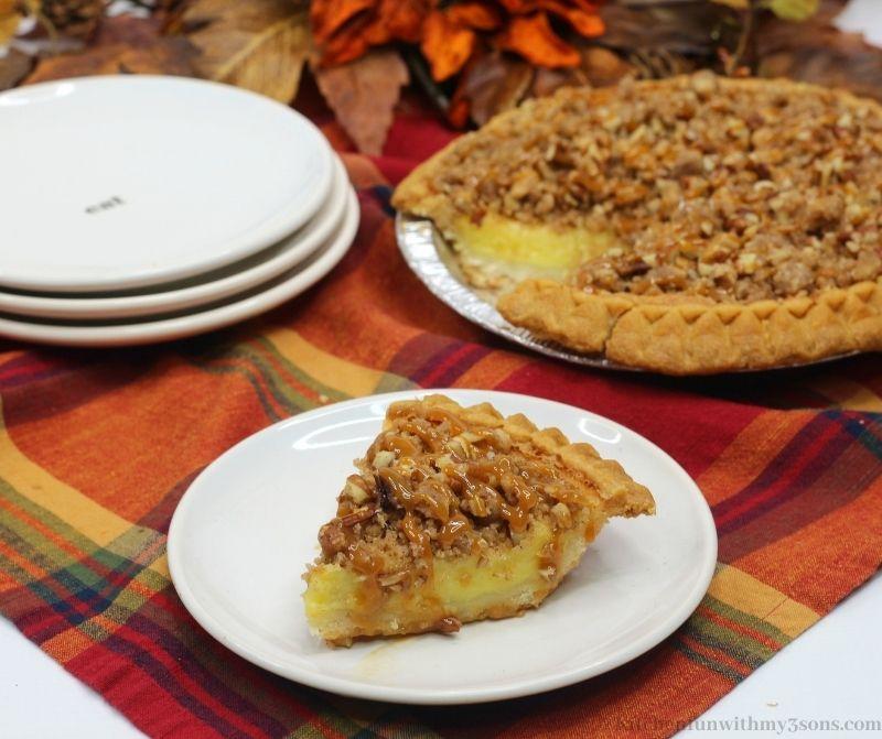 Streusel Buttermilk Pie Recipe on a serving plate.