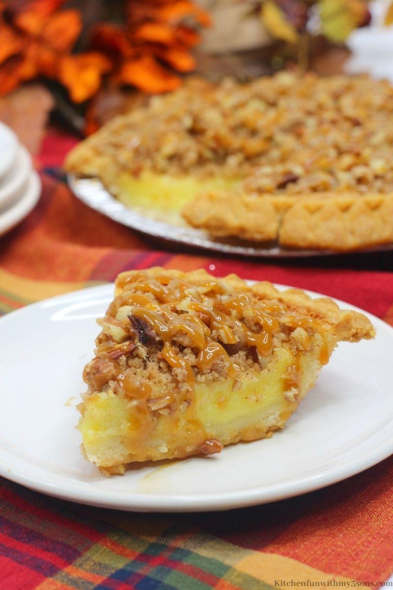 Streusel Buttermilk Pie Recipe on a patterned cloth.