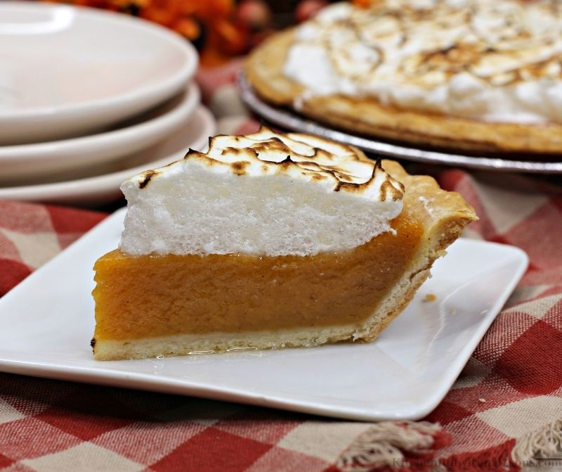 Sweet Potato Pie Recipe with Marshmallow Meringue on a squared and white serving plate.