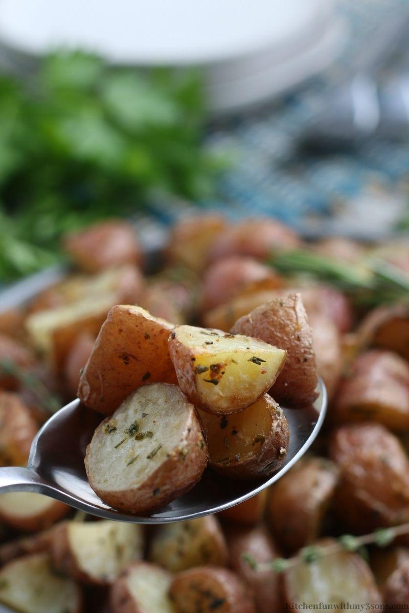potatoes on a spoon