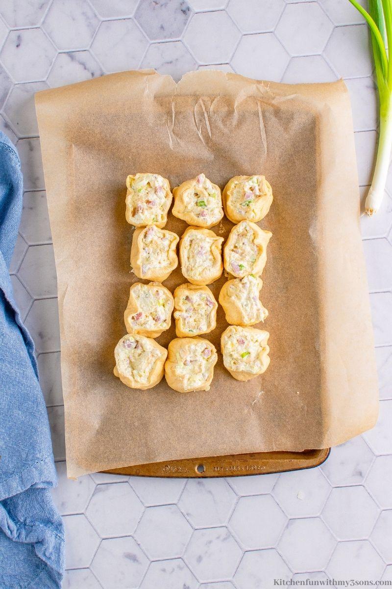The Best Pineapple Ham Pinwheels Recipe arranged on a baking sheet.