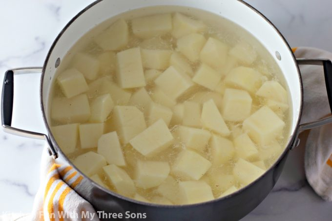 potato chunks in a pot of water