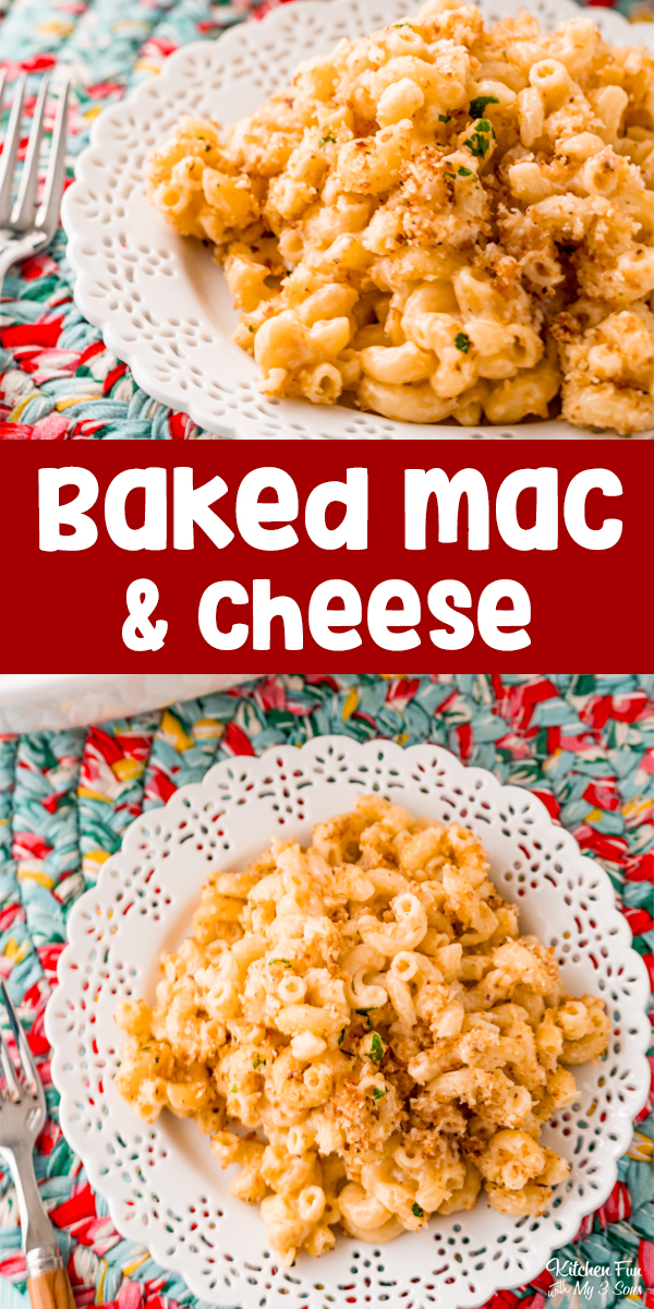 Baked Mac and Cheeseis so good. With it's gooey cheese sauce and the crunch of the breadcrumb topping, it's a fan favorite.