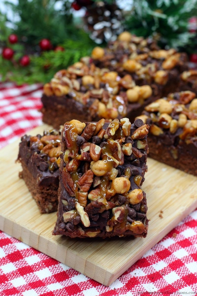 Best Ever Turtle Brownies Recipe on a white and red checkered cloth.