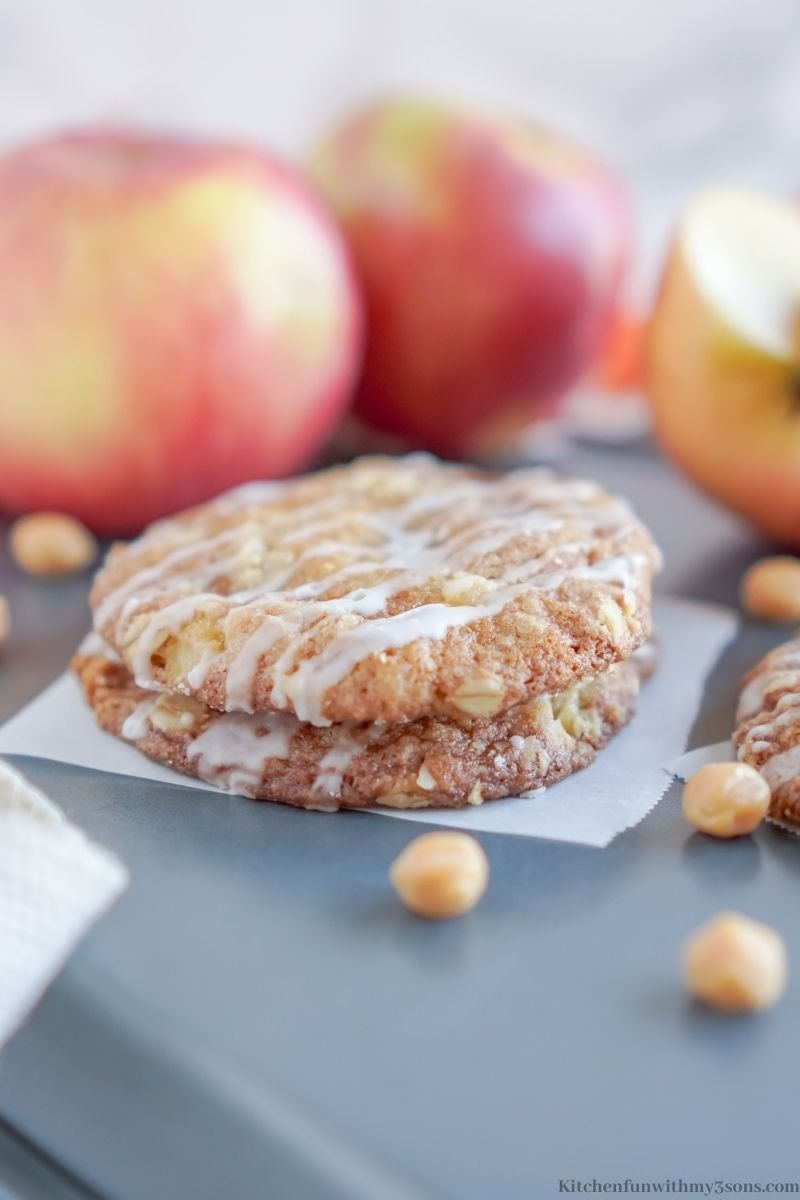 Two of the Caramel Apple Crisp Cookies stacked on top of each other.
