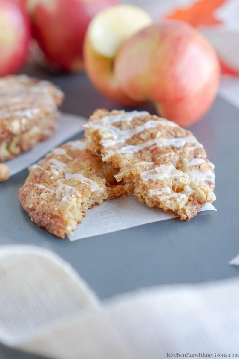 One Caramel Apple Crisp Cookie broken in half.