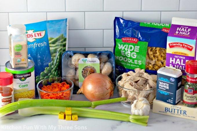 ingredients to make Chicken Pot Pie Noodles