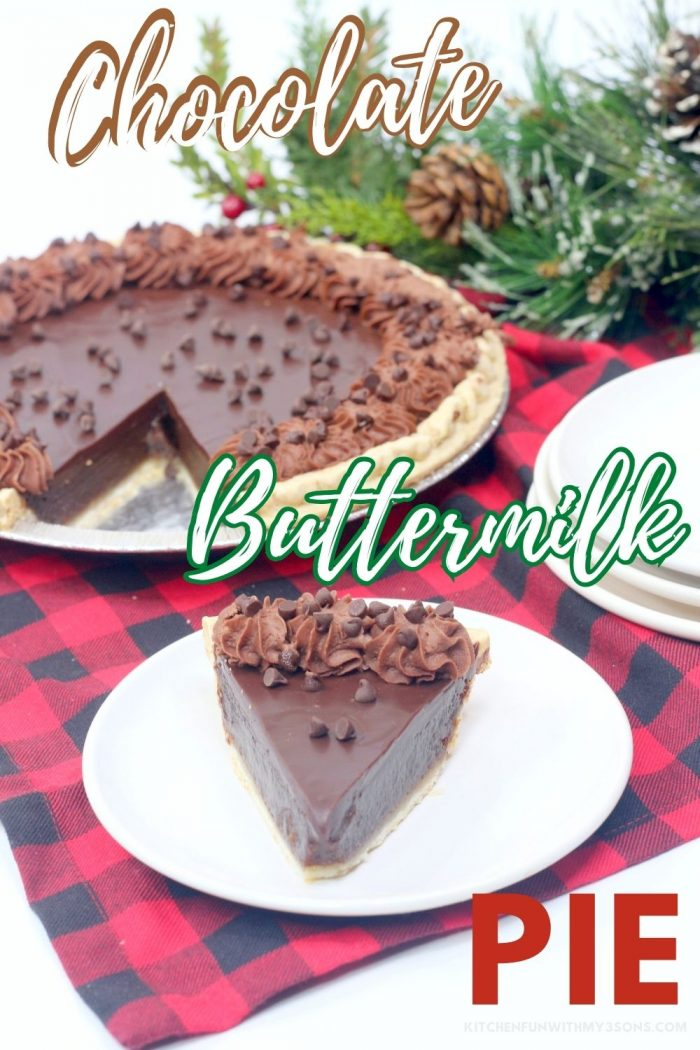 pinterest image for chocolate buttermilk pie