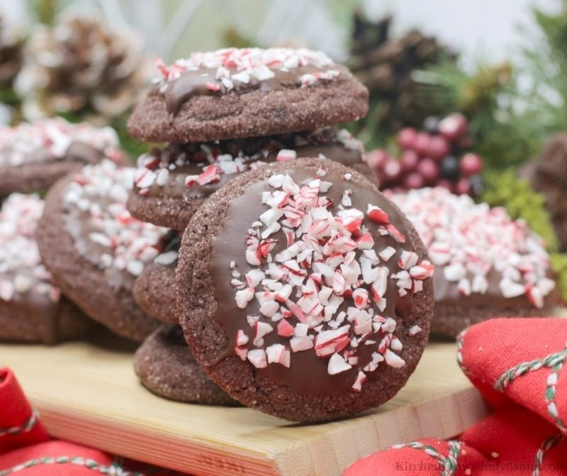 Chocolate Peppermint Mocha Cookies on a wooden serving platter.