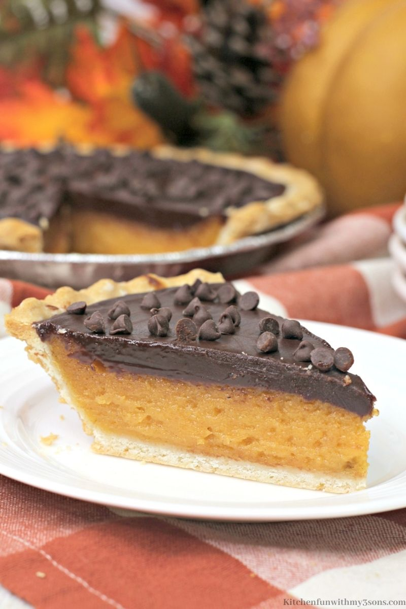 Chocolate Sweet Potato pie on a serving dish.