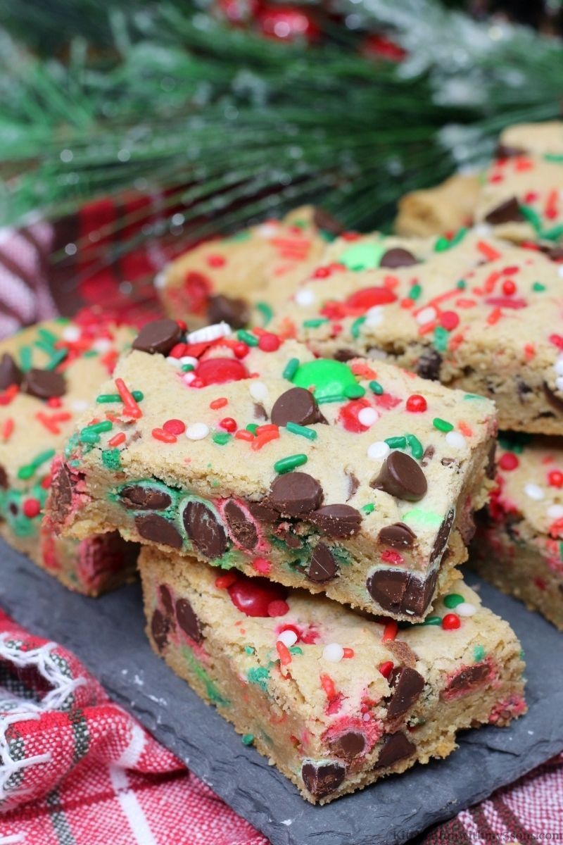 Christmas Cookie Bars on a patterned cloth.