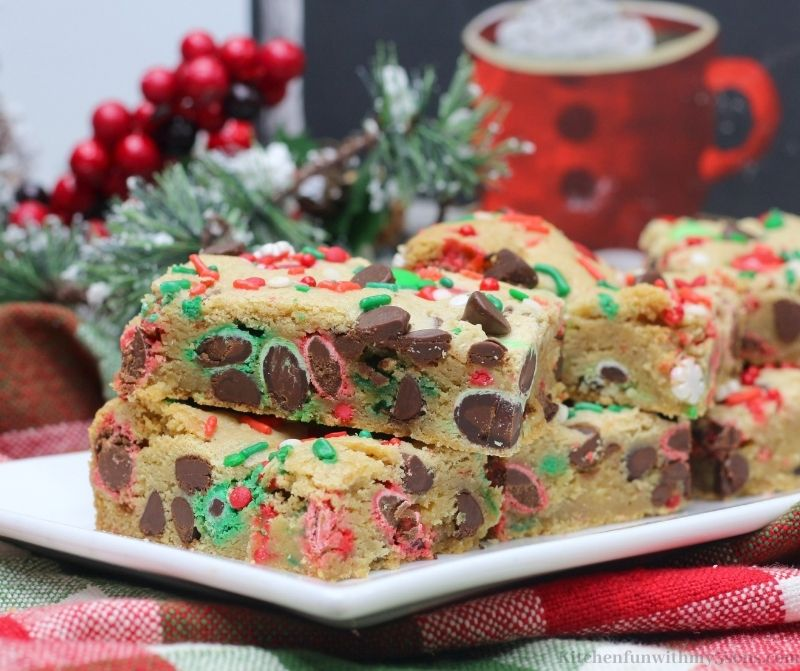 Christmas Cookie Bars on a white serving platter.