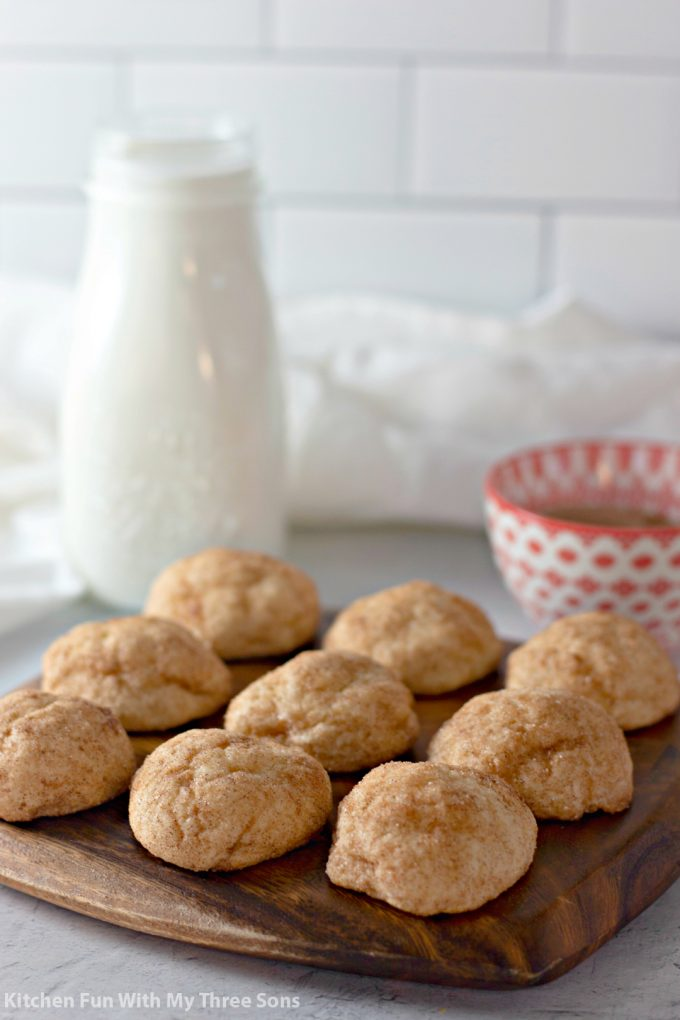 Cinnamon Cream Cheese Cookie Puffs on a wood platter