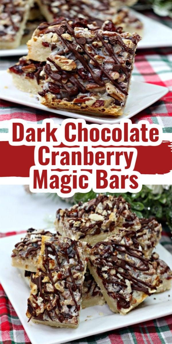 Dark Chocolate Cranberry Magic Bars on a white plate