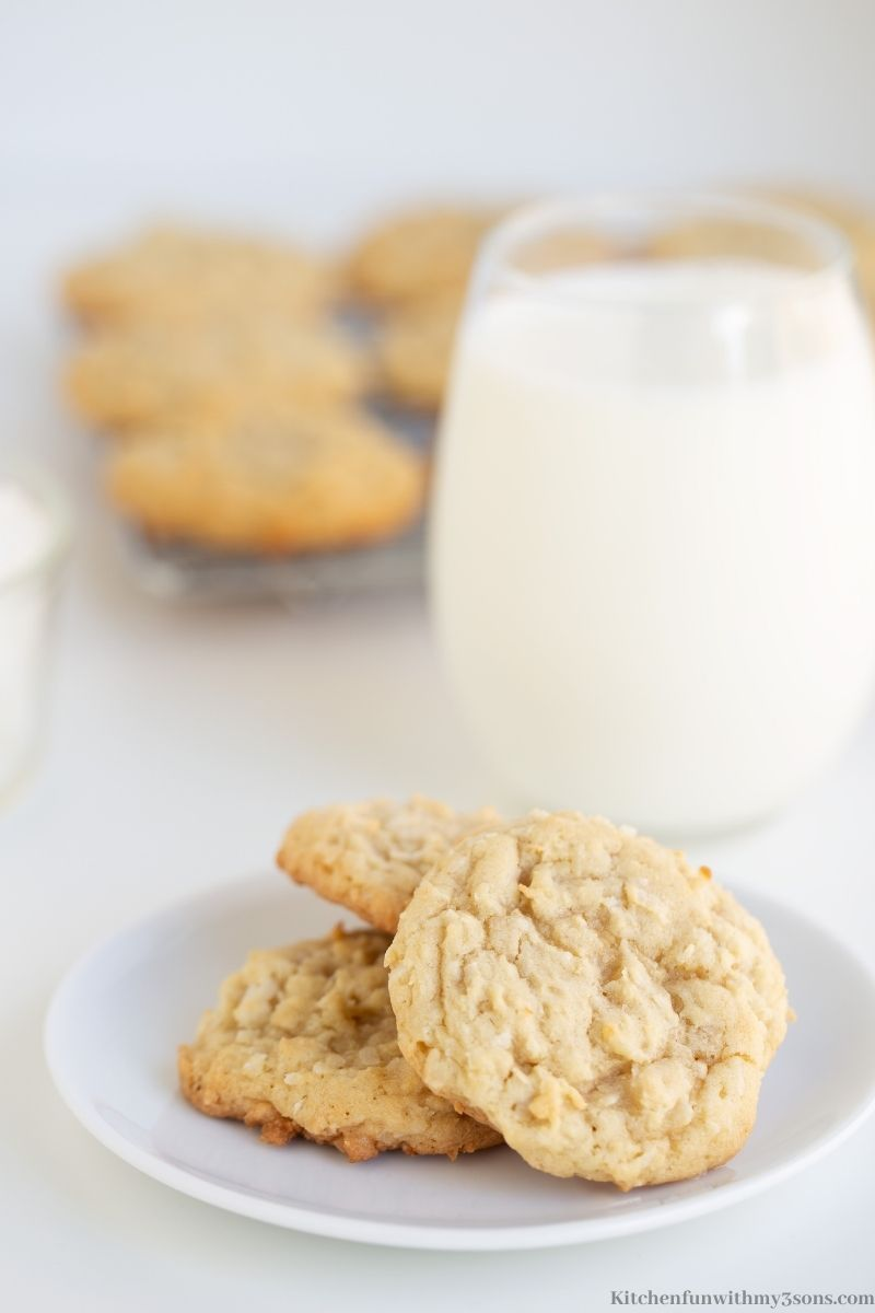 Easy Coconut Cookies on a serving plate.