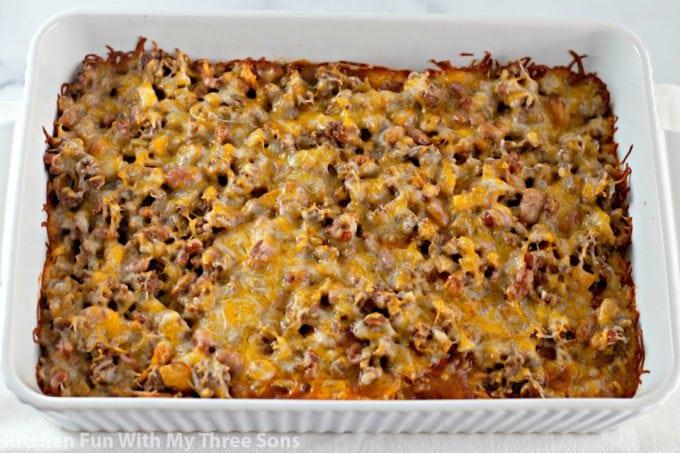 freshly baked Frito casserole