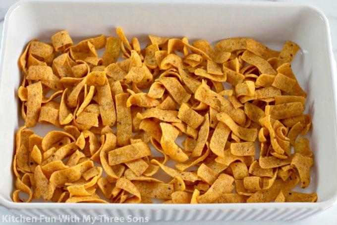 Fritos in a white baking dish