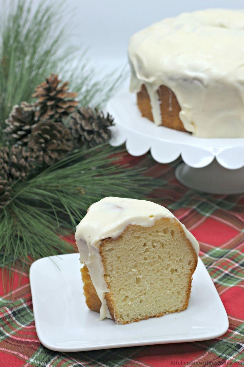 Eggnog Cake Recipe on a serving plate.