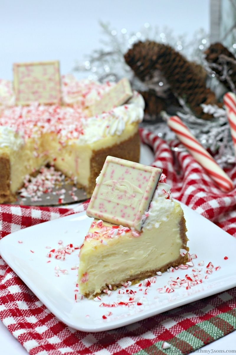 A slice of the Ghirardelli Peppermint Cheesecake Recipe on a serving plate.