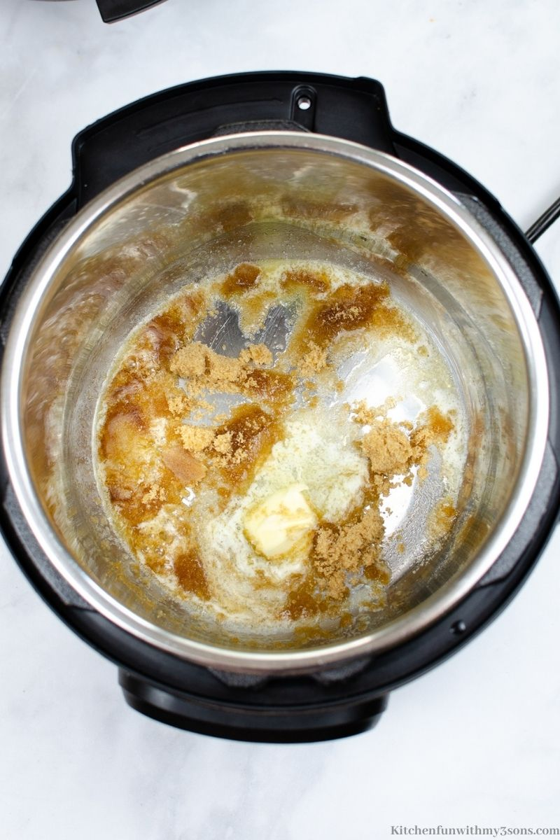 Melting the sugar, salt, and butter in the instant pot.