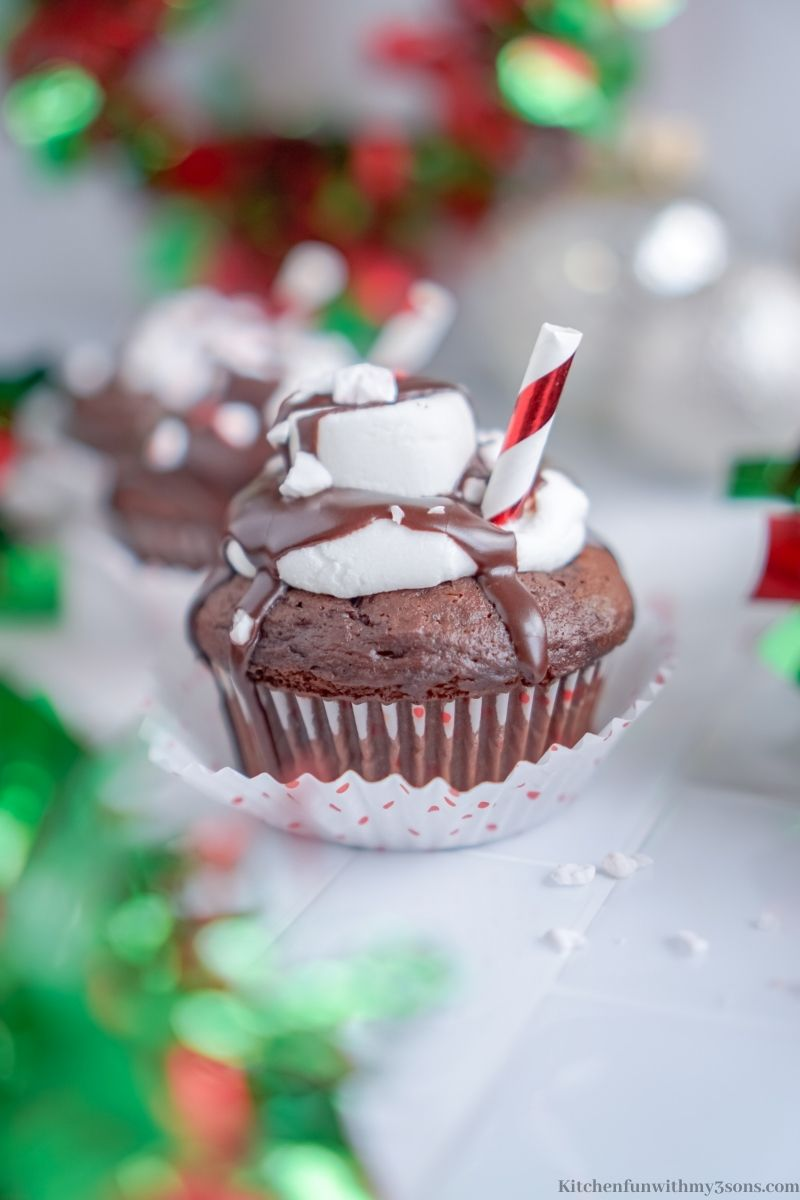 Hot Chocolate Cupcakes with Christmas decorations.